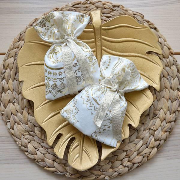 Μπομπονιέρα Γάμου πουγκί με Χρυσή εκτύπωση Mandala