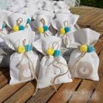 Μπομπονιέρα Βάπτισης πουγκί με στάμπα Ζωάκια
